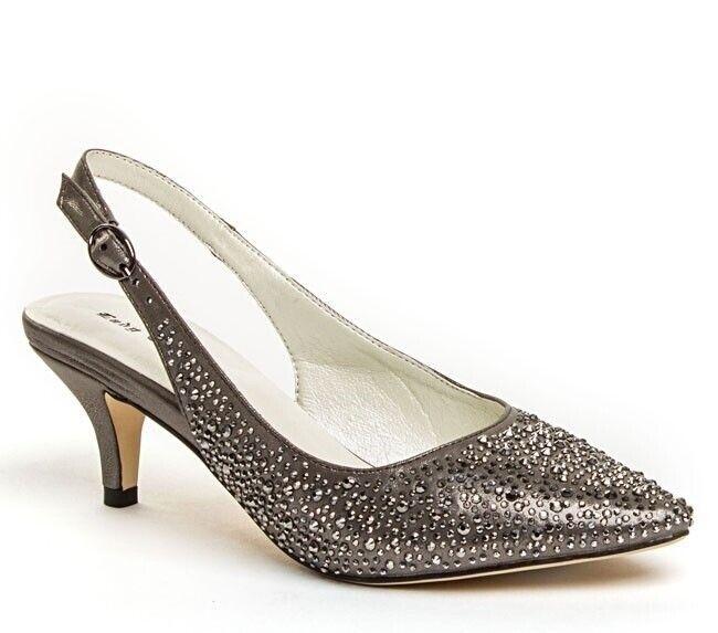 Lady Couture Women's Onyx Crystal Rhinestone Slingback Closed Toe Heels Pewter
