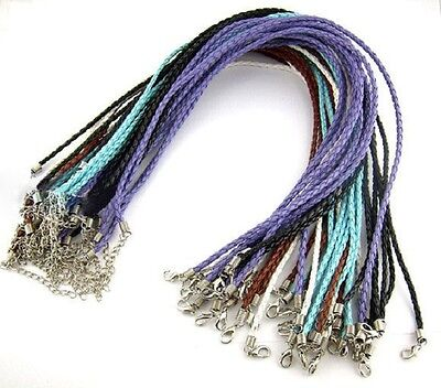 """10 Plaited Necklaces 17"""" Faux Leather Mixed Colours Braided Cord J00721M"""