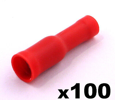 100x Red Female Insulated Bullet Connector Terminals Crimp electrical cable wire