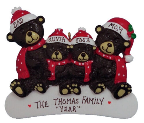 Personalized Black Bear Family of 4 Christmas Ornament