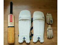 Cricket bat gloves and leg pads