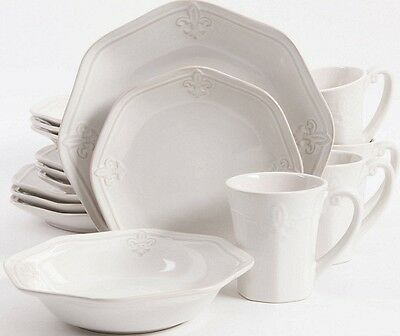 - Better Homes Fleur de Lis embossed 16-piece Dinnerware Set 2DAY SHIP NEW