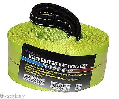 "TOW STRAP 4"" X 30' 20,000 LB Capacity HEAVY DUTY 4x30 Recovery Rescue Towing"