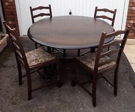 Extending table and 4 chairs, dark oak