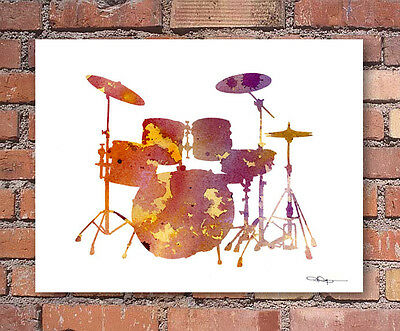 (Drum Set Abstract Watercolor Painting Art Print by Artist DJ Rogers)