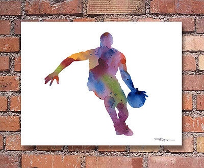 Basketball Player Abstract Watercolor Painting Art Print by Artist DJ Rogers