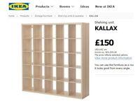 Offering an excellent condition beech colour shelving & storage unit - Ikea Kallax