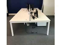 6 positions professional office workstation desk white table with divider