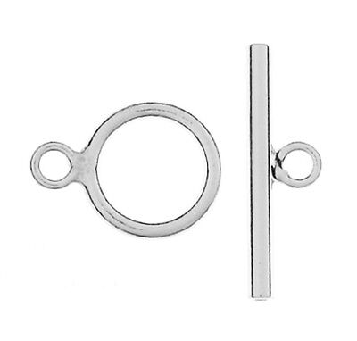 (ONE STERLING SILVER SIMPLE STRONG TOGGLE CLASP, MEDIUM SIZE, 13.5 X 19 MM)