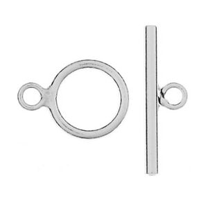 ONE STERLING SILVER SIMPLE STRONG TOGGLE CLASP, MEDIUM SIZE, 14 X 19 MM
