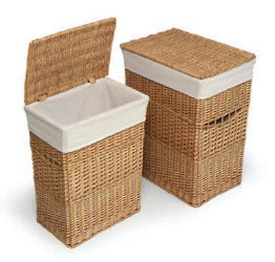 Badger Basket Natural Two Hamper Set with Liners 0172N  New