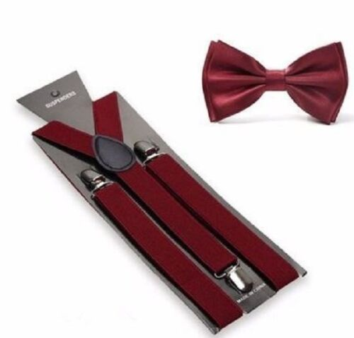 New Burgundy Suspenders Bow Tie Matching Set Wedding Prom Quinceañera Maroon