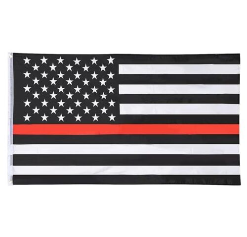 Thin Red Line Flag 3x5 Ft - Fire Fighter Firefighter -American Fireman Pride USA