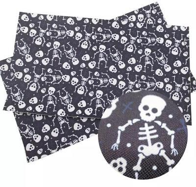 Black skeleton Halloween faux leather fabric sheet / full or 1/2 sheet](Black Halloween)