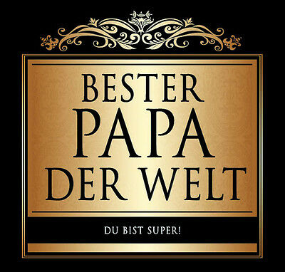 1 AUFKLEBER GOLD BRAUN  BESTER PAPA DER WELT / VATERTAG