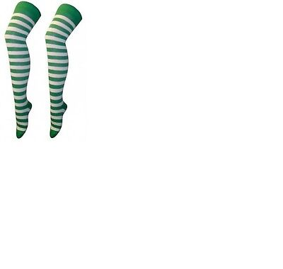 SEXY-OVER THE KNEE COTTON RICH SOCKS IN GREEN AND WHITE