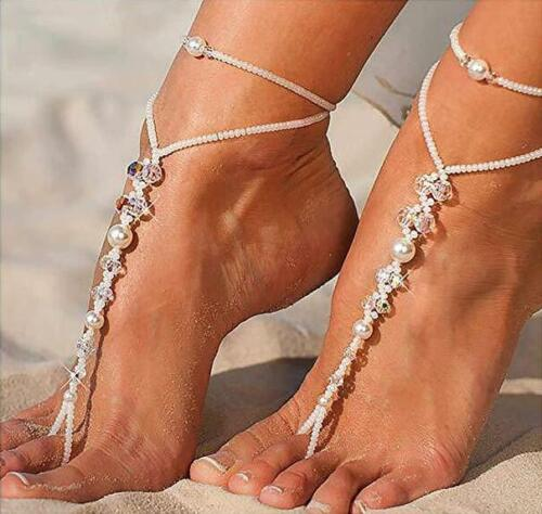 Pearl Barefoot Sandal Anklet Foot Chain Toe Ring Beach Ankle