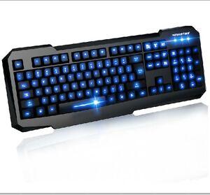 backlit illuminated backlight gaming keyboard blue led usb wired for pc laptop ebay. Black Bedroom Furniture Sets. Home Design Ideas