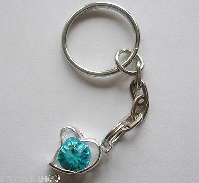 - Rhinestone Heart Charm Keyring Blue - Plated Silver Key Chain 65mm HC - BL