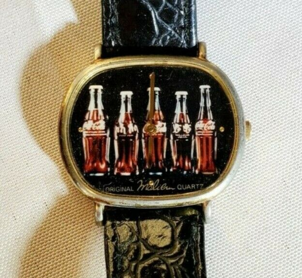 Vintage Coca Cola Coke Watch / Stainless Steel / Leather Wristband VERY RARE
