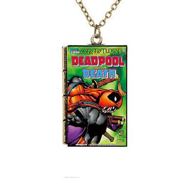New Miniature Cartoon Cover Deadpool Annual Death TINY Book Pendant Necklace