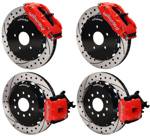 """WILWOOD DISC BRAKE KIT,94-04 MUSTANG,FORD,13"""",RED CALIPERS,DRILLED ROTORS"""