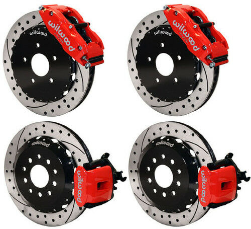 "Wilwood Disc Brake Kit,94-04 Mustang,ford,13"",red Calipers,drilled Rotors"