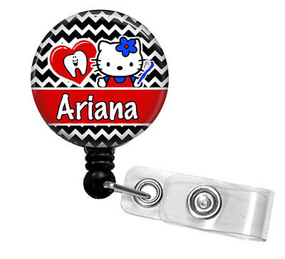 Personalized Hello Kitty (DENTAL HYGIENIST HELLO KITTY PERSONALIZED RETRACTABLE ID BADGE HOLDER)