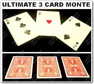 ULTIMATE 3 CARD MONTE GIMMICK BICYCLE RED BACK CARDS COMEDY 2 EASY MAGIC TRICK