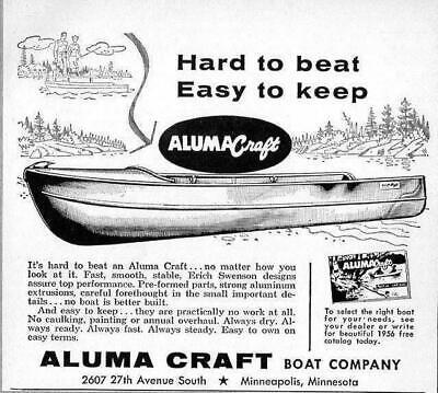 1956 Print Ad Aluma Craft Aluminum Boats Made in Minneapolis,Minnesota