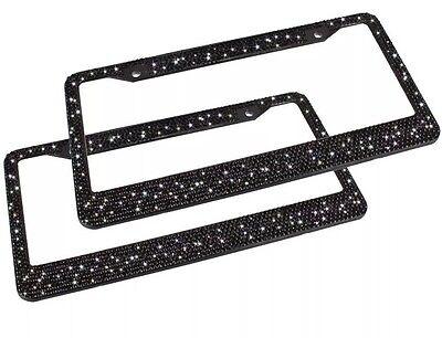 2 Black Metal Diamond Bling Glitter License Plate Frame Cover Crystal - Metal Frame Rhinestones