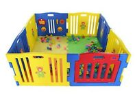 Large plastic playpen with interactive play panel
