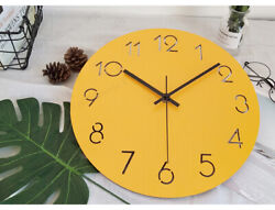 D193 Modern Style Simple Yellow Mute Living Room Decoration Wall Clock 15 Inch A