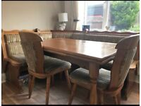 Dining table with bench seat and chairs