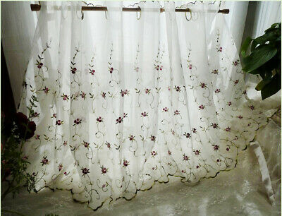 French Country Floral embroidered Net Tulle Kitchen Cafe Curtain Tier - French Country Kitchens