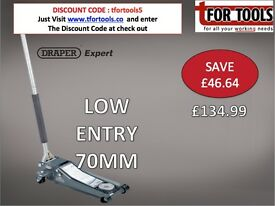DRAPER Expert 2 tonne 70MM ULTRA Low Profile Trolley Jack with 'Quick Lift' Facility