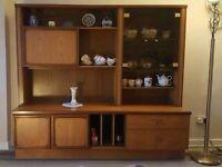 Retro 1960's Solid wood sideboard, display cabinet, vintage