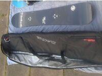 MADE IN CANADA BURTON MALOLO 158 SNOWBOARD + DK DAKINE 165 LUXURY SOFT WHEELED PADDED BAG CASE