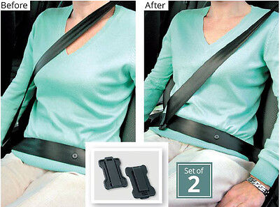 2 x Car Seat Belt Support Comfort Strap Adjusters Clips Safety Aid Neck Space