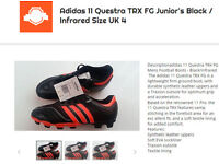 Adidas 11 Questra TRX Junior's FG Boots Size UK 4 Black Infrared