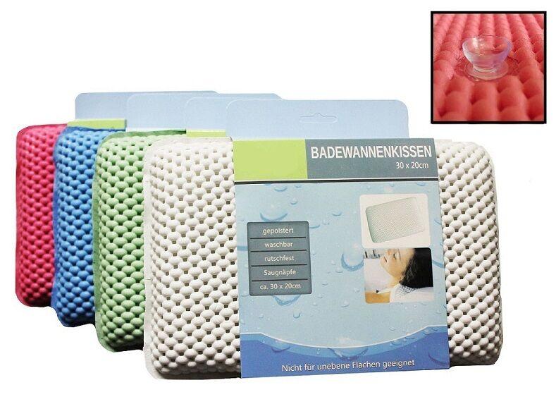 Badewannenkissen Kissen Bad Badewanne Nackenkissen Saugnäpfe gepolstert 30x20cm