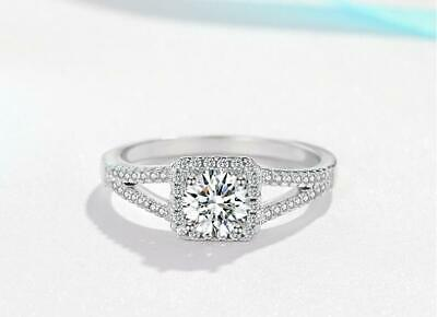 Pave Cubic Zirconia 925 Sterling Silver Princess Engagement Solitaire Ring (Cubic Zirconia Princess Ring)