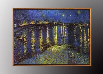(VAN GOGH Starry Night Over the Rhone Art Print 50cm x 70cm WITH Gold FRAMED )