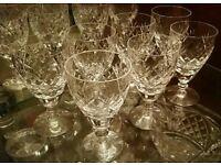 Royal Doulton Cut Crystal Wine/Sherry Glasses x 7