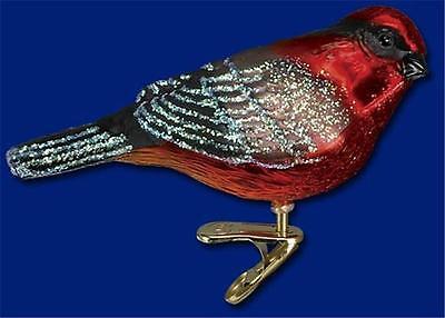 Vermillion Flycatcher Old World Christmas Glass Bird On Clip Ornament Nwt 18074