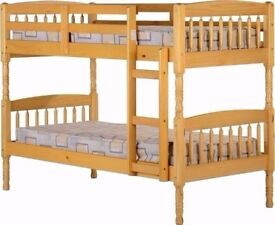 CLASSIC SALE Brand New wooden single bunk bed frame - child sleeper with white orthopedic mattress