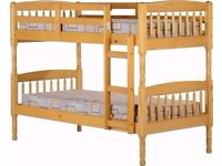 New High Quality Single Pine Wood bunk bed and mattress range - same day Delivery all Over London-