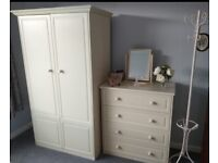 Bedroom Wardrobe and Matching Drawer Set with Coat Stand and Mirror