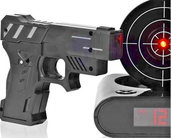 Target Alarm Clock Gun Infrared Realistic Loud Sound Effects Fun Laser Pistol