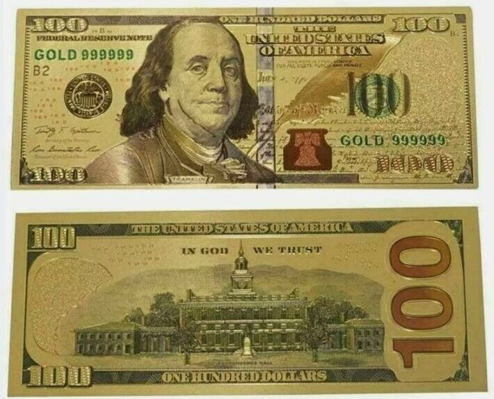 $100 GOLD BANKNOTE 999 PURE 24K DOLLAR BILL US CURRENCY WITH DELUXE SLEEVE